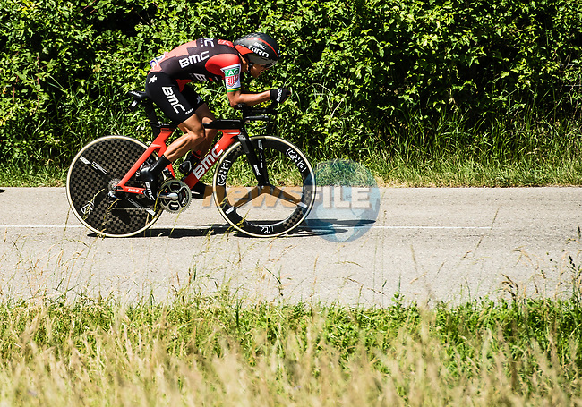 Richie Porte (AUS) BMC Racing Team in action during Stage 4 of the Criterium du Dauphine 2017, an individual time trial running 23.5km from La Tour-du-Pin to Bourgoin-Jallieu, France. 7th June 2017. <br /> Picture: ASO/A.Broadway | Cyclefile<br /> <br /> <br /> All photos usage must carry mandatory copyright credit (&copy; Cyclefile | ASO/A.Broadway)