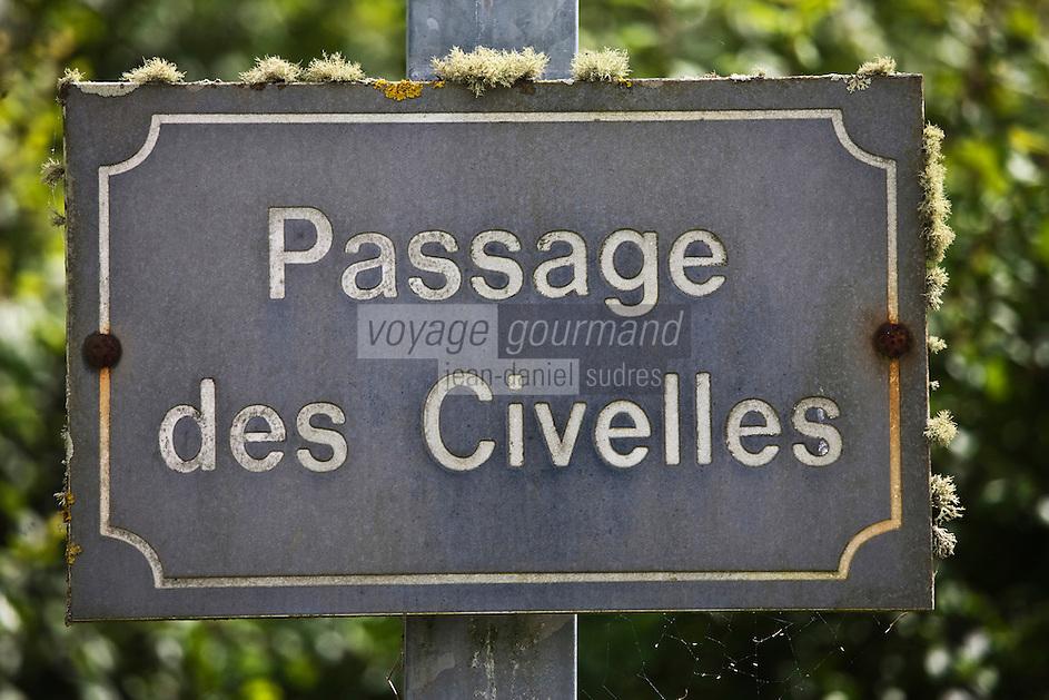 Europe/France/Aquitaine/33/Gironde/Estuaire de la Gironde/Saint-Vivien-de Médoc: Plaque de rue - Passage des Civelles