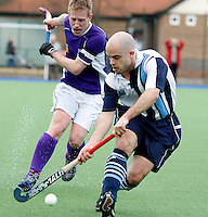 David Eakins sets up an attack for Hampstead during the England Hockey League Mens Semi-Final Cup game between Hampstead & Westminster and Sevenoaks at the Paddington Recreation Ground, Maida Vale on Sun March 21, 2010