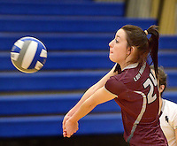 NWA Democrat-Gazette/BEN GOFF @NWABENGOFF<br /> Krysten Hall of Siloam Springs makes a dig against Rogers on Thursday Aug. 27, 2015 during the match at Rogers High.
