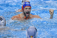 12 LUCAS Thomas Netherlands celebrate   <br /> Budapest 14/01/2020 Duna Arena <br /> ROMANIA (white caps) Vs. NETHERLANDS (blue caps) Men  <br /> XXXIV LEN European Water Polo Championships 2020<br /> Photo  © Andrea Staccioli / Deepbluemedia / Insidefoto
