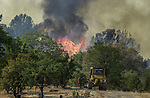 August 18, 2001 Coulterville, California  -- Creek Fire –  CDF dozer heads into fire to cut fire break on Alan Haigh Ranch. The Creek Fire burned 11,500 acres between Highway 49 and Priest-Coulterville Road a few miles north of Coulterville, California.