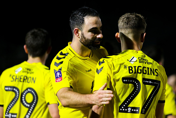 Fleetwood Town's Craig Morgan celebrates with Harrison Biggins after the match<br /> <br /> Photographer Alex Dodd/CameraSport<br /> <br /> The Emirates FA Cup Second Round - Guiseley v Fleetwood Town - Monday 3rd December 2018 - Nethermoor Park - Guiseley<br />  <br /> World Copyright &copy; 2018 CameraSport. All rights reserved. 43 Linden Ave. Countesthorpe. Leicester. England. LE8 5PG - Tel: +44 (0) 116 277 4147 - admin@camerasport.com - www.camerasport.com