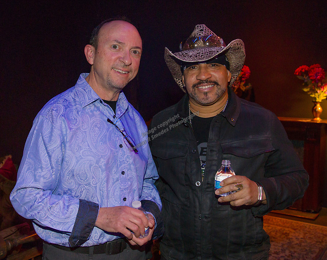 Jeff Ross and Oliver X during the Take 5 fundraiser at the Bruka Theatre on Saturday night, Jan. 13, 2018.