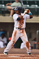 Greenville Astros center fielder Jason Martin #4 awaits a pitch during a game against the Pulaski Mariners at Pioneer Park July 12, 2014 in Greenville, Tennessee. The Mariners defeated the Astros 11-10. (Tony Farlow/Four Seam Images)
