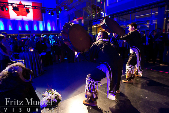 Inuit drummers perform at gala event at the 2010 Vancouver Olympics