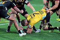 Gareth Evans secures loose ball during the Super Rugby quarterfinal match between the Hurricanes and Chiefs at Westpac Stadium in Wellington, New Zealand on Friday, 20 July 2018. Photo: Dave Lintott / lintottphoto.co.nz