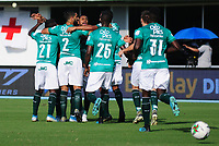 BARRANCABERMEJA - COLOMBIA, 25-01-2020:Deiber Caicedo del Deportivo Cali celebra después de anotar el primer gol de su equipo partido entre Atlético Bucaramanga y Deportivo Cali por la fecha 1 de la Liga BetPlay I 2020 jugado en el estadio Daniel Villa Zapata de la ciudad de Barrancabermeja. / Deiber Caicedo of Deportivo Cali celebrates after scoring the first goal of his team during match between Atletico Bucaramanga and Deportivo Cali for the date 1 as part of BetPlay League I 2020 played at Daniel Villa Zapata stadium in Barrancabermeja.Photo: VizzorImage / Jose David Martinez / Cont /