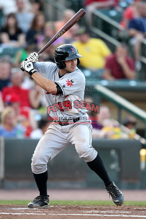Indianapolis Indians shortstop Chase d'Arnaud #19 during a game against the Rochester Red Wings at Frontier Field on June 18, 2011 in Rochester, New York.  Rochester defeated Indianapolis 12-7.  (Mike Janes/Four Seam Images)