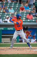 Syracuse Mets Colton Plaia (24) bats during an International League game against the Indianapolis Indians on July 17, 2019 at Victory Field in Indianapolis, Indiana.  Syracuse defeated Indianapolis 15-5  (Mike Janes/Four Seam Images)