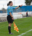Assistant Referee Morag Pirie explains her decision after she waved Dundee's Jim McAlister's goal offside.
