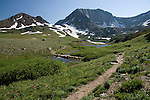 Static Peak, Michigan Lakes area, summer, afternoon, July, Routt National Forest, Rocky Mountains, Colorado, USA