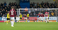 5th January 2020; Pirelli Stadium, Burton Upon Trent, Staffordshire, England; English FA Cup Football, Burton Albion versus Northampton Town; David Templeton of Burton Albion takes a shot at goal - Strictly Editorial Use Only. No use with unauthorized audio, video, data, fixture lists, club/league logos or 'live' services. Online in-match use limited to 120 images, no video emulation. No use in betting, games or single club/league/player publications