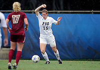 Florida International University women's soccer player Crystal McNamara (15) plays against the University of Denver on October 16, 2011 at Miami, Florida. FIU won the game 1-0. .