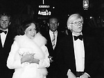 """Paulette Goddard and Andy Warhol after a performance of Broadway's """"Annie"""" at the Alvin Theatre in New York City. April 21, 1977"""