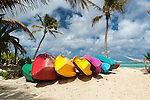 Canoes on beach in Rarotonga, Cook Islands