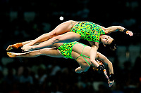 Picture by Rogan Thomson/SWpix.com - 16/07/2017 - Diving - Fina World Championships 2017 -  Duna Arena, Budapest, Hungary - Taneka Kovchenko and Melissa Wu of Australia compete in the Women's 10m Synchro Platform Preliminary.