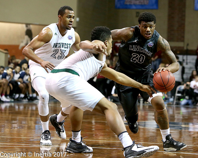 SIOUX FALLS, SD: MARCH 23: Luquon Choice #20 from Lincoln Memorial drives against D'Vante Mosby #30 from Northwest Missouri State during the Men's Division II Basketball Championship Tournament on March 23, 2017 at the Sanford Pentagon in Sioux Falls, SD. (Photo by Dave Eggen/Inertia)