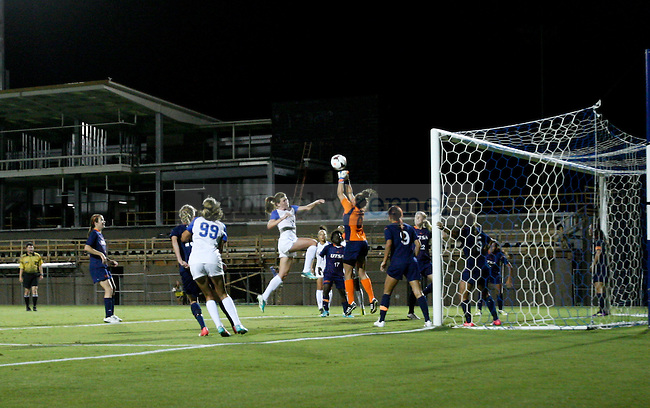 Junior Arin Gilliland flies through the air while going after a header during the women's soccer game against the University of Texas San Antonio September 13, 2013 at the UK Soccer Complex in Lexington, Ky.