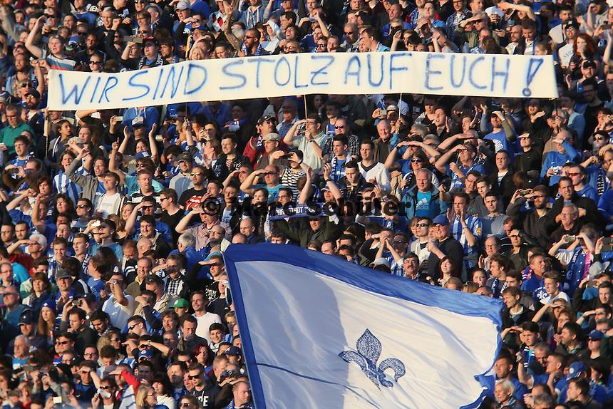 Darmstaedter Fans mit ihrem Statement - SV Darmstadt 98 vs. Armina Bielefeld, Stadion am Böllenfalltor