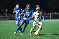 Boston, MA - Friday August 04, 2017: Ifeoma Onumonu and Desiree Scott during a regular season National Women's Soccer League (NWSL) match between the Boston Breakers and FC Kansas City at Jordan Field.