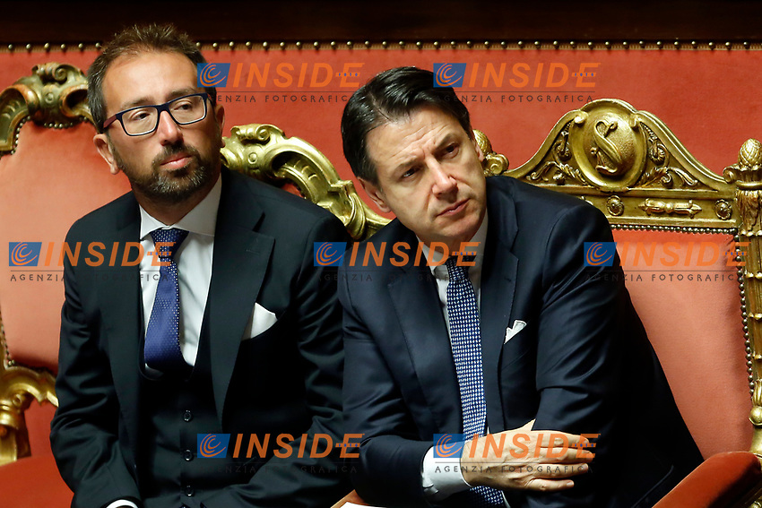 Alfonso Bonafede and Giuseppe Conte <br /> Rome September 10th 2019. Senate. Discussion and Trust vote at the new Government. <br /> Foto  Samantha Zucchi Insidefoto