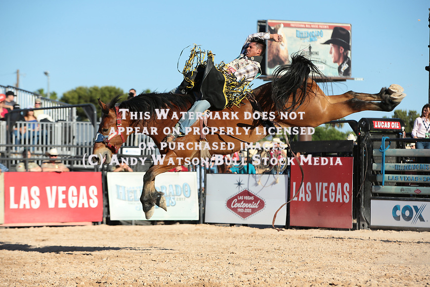 Kyle Charley, Flood Tide, during the third performance of the Las Vegas Helldorado Days PRCA rodeo. Photo by Andy Watson. All Photos (C) Watson Rodeo Photos, INC. Any use must have written Permission.