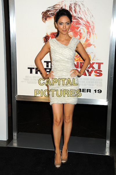 "NAZANIN BONIADI .""The Next Three Days"" Los Angeles Screening held at the Directors Guild of America, West Hollywood, California, USA, 16th November 2010..full length hands on hips sleeveless white ruched mono dress gold shoes .CAP/ADM/BP.©Byron Purvis/AdMedia/Capital Pictures."