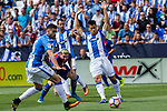 FC Barcelona's Leo Messi and Club Deportivo Leganes's Carl Medjani and Unai Bustinza during the match of La Liga between Club Deportivo Leganes and Futbol Club Barcelona at Butarque Estadium in Leganes. September 17, 2016. (ALTERPHOTOS/Rodrigo Jimenez)