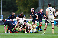 Joe Atkinson of London Scottish rallies his team mates during the Greene King IPA Championship match between London Scottish Football Club and Doncaster Knights at Richmond Athletic Ground, Richmond, United Kingdom on 30 September 2017. Photo by Jason Brown / PRiME Media Images.