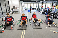 (L-R) Federico Fernandez, Andre Ayew, Mike van der Hoorn and Martin Olsson exercise in the gym during the Swansea City Training at The Fairwood Training Ground, Swansea, Wales, UK. Tuesday 13 March 2018