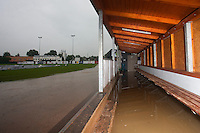 02 June 2010: View of a flooded dugout in the AVG Arena as the first game of the 2010 Baseball European Cup in Brno, Czech Republic, is canceled due to a rainout.
