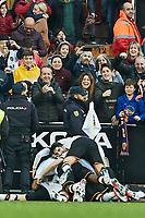 25th January 2020; Mestalla, Valencia, Spain; La Liga Football,Valencia versus Barcelona; Maxi Gomez of Valencia CF celebrates with his team mates after scoring in minute 77' the second goal for his team (2-0)
