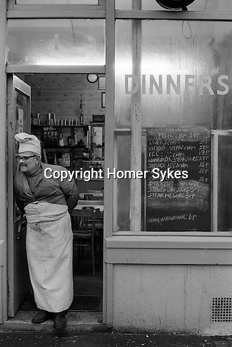 Brick Lane cafe owner. East London England. 1974<br />