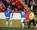 03.03.2019 Aberdeen v Rangers: Alfredo Morelos celebrates to the Aberdeen fans