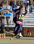 WATERBURY, CT - 23 NOVEMBER 2017 -112317JW07.jpg -- Kennedy High School #10 Zy'Ron Jordan goes up for a pass intended for Crosby #4 Raecuan Digsby during the Thanksgiving Day Game at Municipal Stadium.  Jonathan Wilcox Republican-American