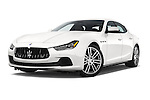 Stock pictures of low aggressive front three quarter view of a 2014 Maserati Ghibli Base 4 Door Sedan Low Aggressive