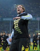 Fussball 1. Bundesliga :  Saison   2010/2011   32. Spieltag  21.04.2012 Borussia Dortmund - Borussia Moenchengladbach Jubel nach dem SIEG zur Deutschen Meisterschaft Trainer Juergen Klopp (Borussia Dortmund)