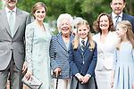 Queen Letizia, Menchu del Valle, Princess Sofia and Princess Leonor pose to the media at First Communion of princess Sofia at Asuncion de Nuestra Senora Church in Madrid, May 17, 2017. Spain.<br /> (ALTERPHOTOS/BorjaB.Hojas)