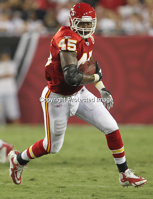 Kansas City Chief's tight end Leonard Pope finds running room against the Tampa Bay Buccaneers. The Buccaneers defeated the Chiefs  20-15 during an NFL preseason game Saturday, Aug. 21, 2010 in Tampa,Fla. (AP Photo/Margaret Bowles).