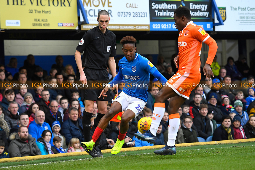 Jamal Lowe of Portsmouth takes on Marc Bola of Blackpool during Portsmouth vs Blackpool, Sky Bet EFL League 1 Football at Fratton Park on 12th January 2019