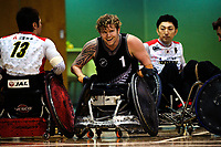 NZ's Cameron Leslie (1) during the 2017 International Wheelchair Rugby Federation Asia-Oceania Zone Championships tournament match between the New Zealand Wheel Blacks and Japan at ASB Stadium in Auckland, New Zealand on Thursday, 31 August 2017. Photo: Dave Lintott / lintottphoto.co.nz