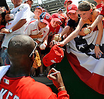 8 June 2008: Washington Nationals' outfielder Elijah Dukes signs autographs prior to a game against the San Francisco Giants at Nationals Park in Washington, DC. The Nationals dropped the afternoon matchup to the Giants 6-3 in their third consecutive loss of the 4-game series...Mandatory Photo Credit: Ed Wolfstein Photo