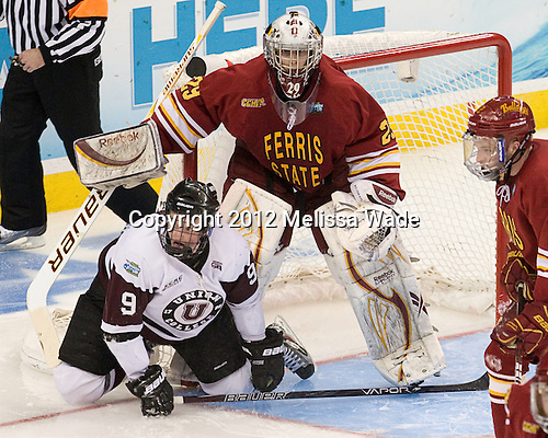 Daniel Carr (Union - 9), Taylor Nelson (FSU - 29) - The Ferris State University Bulldogs defeated the Union College Dutchmen 3-1 (EN) in their 2012 Frozen Four semi-final on Thursday, April 5, 2012, at the Tampa Bay Times Forum in Tampa, Florida.