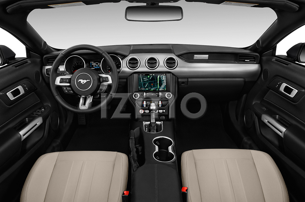 Stock photo of straight dashboard view of a 2018 Ford Mustang EcoBoost 2 Door Convertible