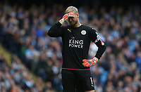 Leicester City's goalkeeper Kasper Schmeichel reacts to the disallowed penalty goal caused by team-mate Riyad Mahrez losing his footing and making contact with the ball twice<br /> <br /> Photographer Stephen White/CameraSport<br /> <br /> The Premier League - Manchester City v Leicester City - Saturday 13th May 2017 - Etihad Stadium - Manchester<br /> <br /> World Copyright &copy; 2017 CameraSport. All rights reserved. 43 Linden Ave. Countesthorpe. Leicester. England. LE8 5PG - Tel: +44 (0) 116 277 4147 - admin@camerasport.com - www.camerasport.com