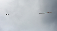 A banner pulled by a light aircraft with the slogan United by Cancer Divided by Leagues flies above the stadium during to the Premier League match between Sunderland and Swansea City at the Stadium of Light, Sunderland, England, UK. Saturday 13 May 2017