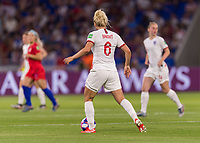 LYON,  - JULY 2: Millie Bright #6 looks for a pass during a game between England and USWNT at Stade de Lyon on July 2, 2019 in Lyon, France.