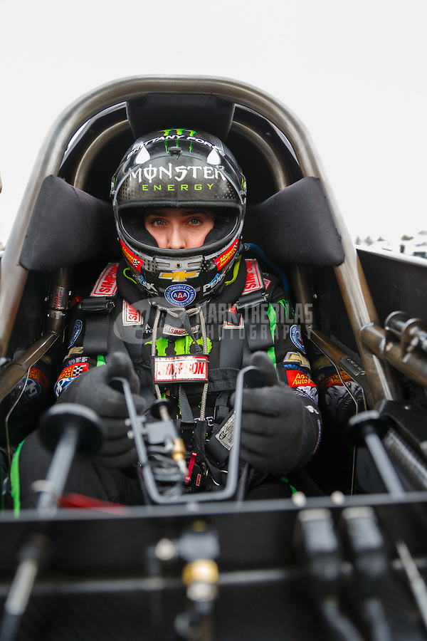 Nov 12, 2017; Pomona, CA, USA; NHRA top fuel driver Brittany Force during the Auto Club Finals at Auto Club Raceway at Pomona. Mandatory Credit: Mark J. Rebilas-USA TODAY Sports
