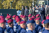 Viktor Orban prime minister of Hungary delivers his speech during a ceremony where police officers take oath on Heroes square in Budapest, Hungary on Oct. 9, 2017. ATTILA VOLGYI